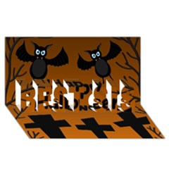 Happy Halloween - bats on the cemetery BEST SIS 3D Greeting Card (8x4)