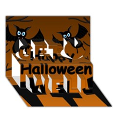 Happy Halloween - bats on the cemetery Get Well 3D Greeting Card (7x5)