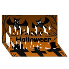 Happy Halloween - bats on the cemetery Merry Xmas 3D Greeting Card (8x4)