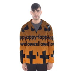 Happy Halloween - bats on the cemetery Hooded Wind Breaker (Men)