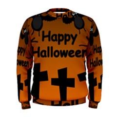 Happy Halloween - bats on the cemetery Men s Sweatshirt