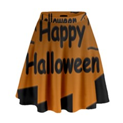 Happy Halloween   Bats On The Cemetery High Waist Skirt