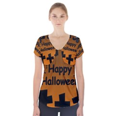 Happy Halloween - bats on the cemetery Short Sleeve Front Detail Top