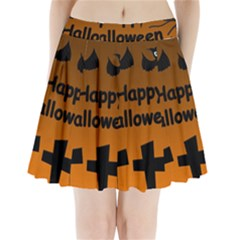 Happy Halloween - bats on the cemetery Pleated Mini Skirt