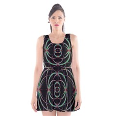 Abstract Spider Web Scoop Neck Skater Dress
