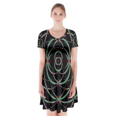Abstract Spider Web Short Sleeve V-neck Flare Dress