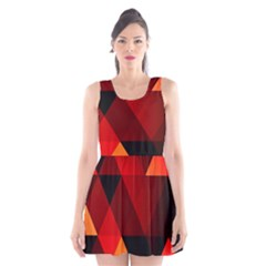 Abstract Triangle Wallpaper Scoop Neck Skater Dress