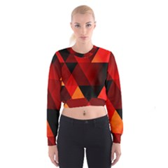 Abstract Triangle Wallpaper Women s Cropped Sweatshirt
