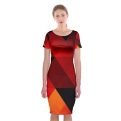 Abstract Triangle Wallpaper Classic Short Sleeve Midi Dress