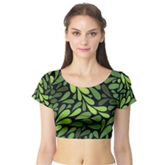 Free Green Nature Leaves Seamless Short Sleeve Crop Top (Tight Fit)