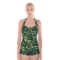 Free Green Nature Leaves Seamless Boyleg Halter Swimsuit