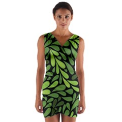Free Green Nature Leaves Seamless Wrap Front Bodycon Dress