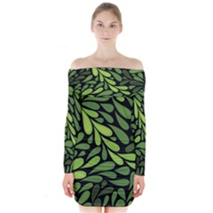 Free Green Nature Leaves Seamless Long Sleeve Off Shoulder Dress