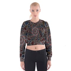 Abstraction Balls Lights 3d Volume Colorful Women s Cropped Sweatshirt