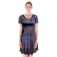 Abstraction Fractal Art Short Sleeve V-neck Flare Dress