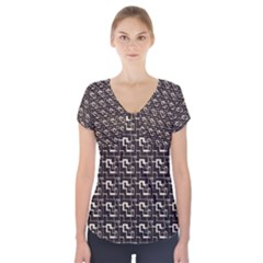 African Ethnic Patterns Short Sleeve Front Detail Top