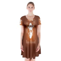 Funny Halloween Short Sleeve V Neck Flare Dress