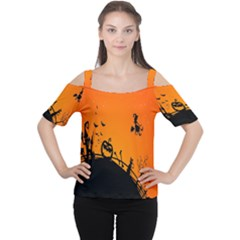 Halloween Day Women s Cutout Shoulder Tee