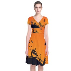 Halloween Day Short Sleeve Front Wrap Dress