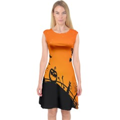 Halloween Day Capsleeve Midi Dress