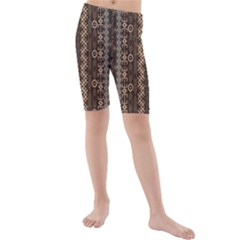 African Style Vector Pattern Kids  Mid Length Swim Shorts