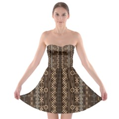African Style Vector Pattern Strapless Bra Top Dress