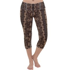 African Style Vector Pattern Capri Yoga Leggings