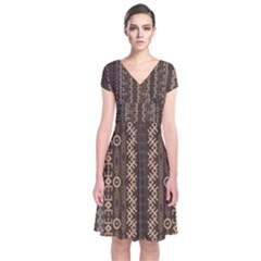 African Style Vector Pattern Short Sleeve Front Wrap Dress