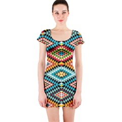 African Tribal Patterns Short Sleeve Bodycon Dress