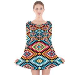 African Tribal Patterns Long Sleeve Velvet Skater Dress