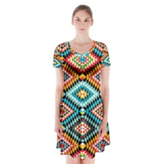 African Tribal Patterns Short Sleeve V-neck Flare Dress