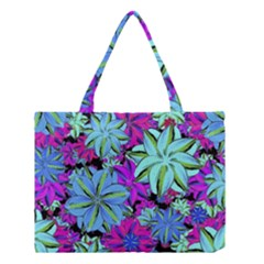 Vibrant Floral Collage Print Medium Tote Bag