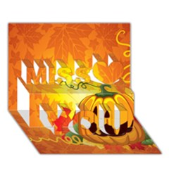 Halloween Pumpkin Miss You 3d Greeting Card (7x5)