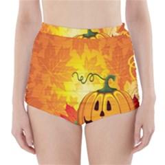 Halloween Pumpkin High-Waisted Bikini Bottoms