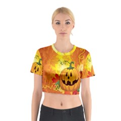 Halloween Pumpkin Cotton Crop Top