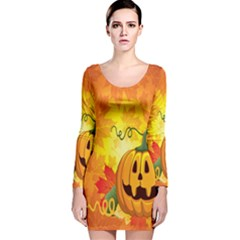 Halloween Pumpkin Long Sleeve Velvet Bodycon Dress