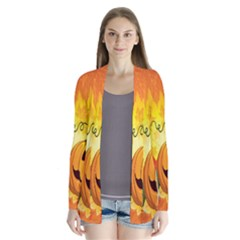 Halloween Pumpkin Drape Collar Cardigan