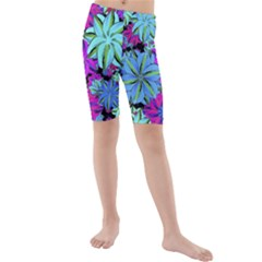 Vibrant Floral Collage Print Kids  Mid Length Swim Shorts