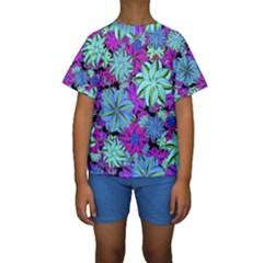 Vibrant Floral Collage Print Kids  Short Sleeve Swimwear