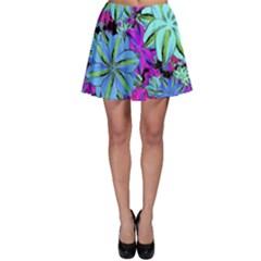 Vibrant Floral Collage Print Skater Skirt