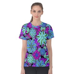 Vibrant Floral Collage Print Women s Cotton Tee