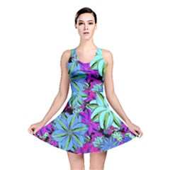Vibrant Floral Collage Print Reversible Skater Dress