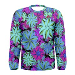 Vibrant Floral Collage Print Men s Long Sleeve Tee