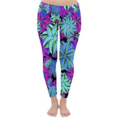 Vibrant Floral Collage Print Winter Leggings