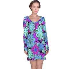 Vibrant Floral Collage Print Long Sleeve Nightdress