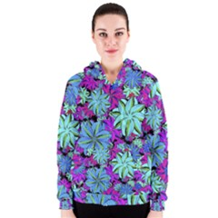 Vibrant Floral Collage Print Women s Zipper Hoodie