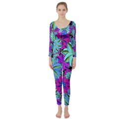 Vibrant Floral Collage Print Long Sleeve Catsuit