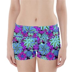 Vibrant Floral Collage Print Boyleg Bikini Wrap Bottoms