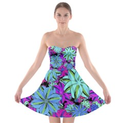 Vibrant Floral Collage Print Strapless Bra Top Dress