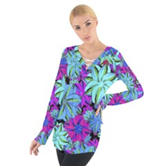 Vibrant Floral Collage Print Women s Tie Up Tee
